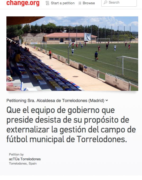 acTÚa recoge firmas para que VxT no externalice la gestión del campo de fútbol
