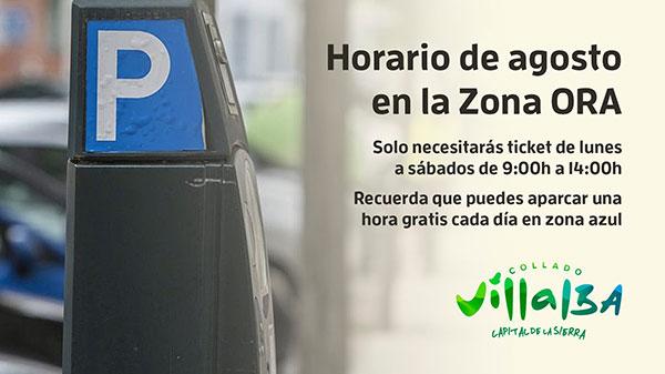 El aparcamiento regulado será gratis las tardes de agosto en Collado Villalba