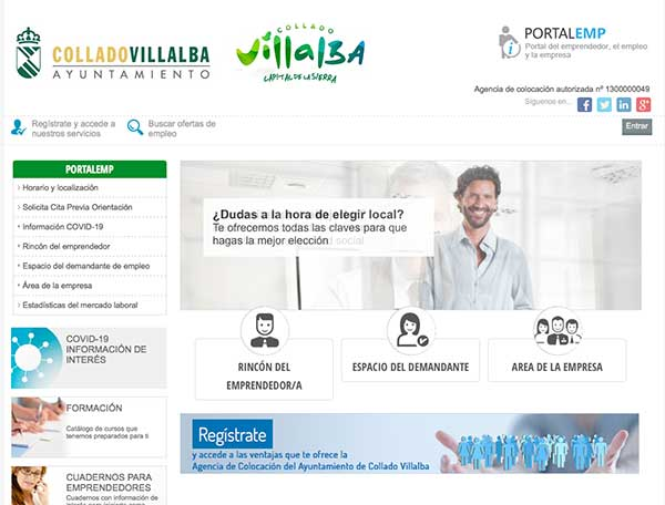 Nuevo portal de empleo de Collado Villalba, una plataforma digital de intermediación laboral