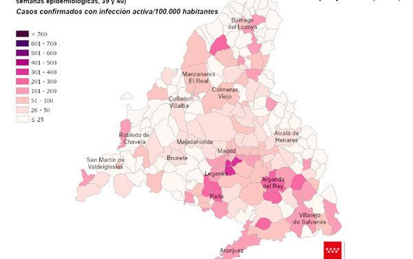 La incidencia de COVID-19 desciende, pero Collado Villalba y Majadahonda continúan por encima de los 500 casos