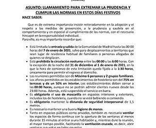 Bando del alcalde de Guadarrama recordando extremar las precauciones sanitarias