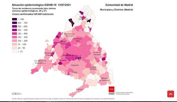 Torrelodones y Majadahonda tienen una tasa de incidencia y contagios más altos de la región