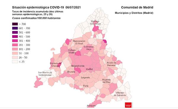 Las Rozas, Torrelodones, Alpedrete, Guadarrama y San Lorenzo, con la tasa de incidencia por encima de la media